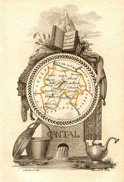 Associate Product CANTAL département. Scarce antique map/carte by A.M. PERROT 1823 old