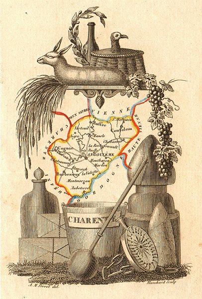 Associate Product CHARENTE département. Scarce antique map/carte by A.M. PERROT 1823 old