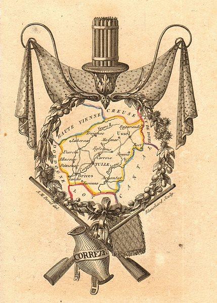 Associate Product CORRÈZE département. 'Correze'. Scarce antique map/carte by A.M. PERROT 1823
