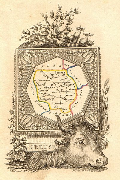 CREUSE département. Scarce antique map/carte by A.M. PERROT 1823 old