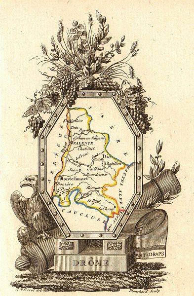 Associate Product DRÔME département. Scarce antique map/carte by A.M. PERROT 1823 old