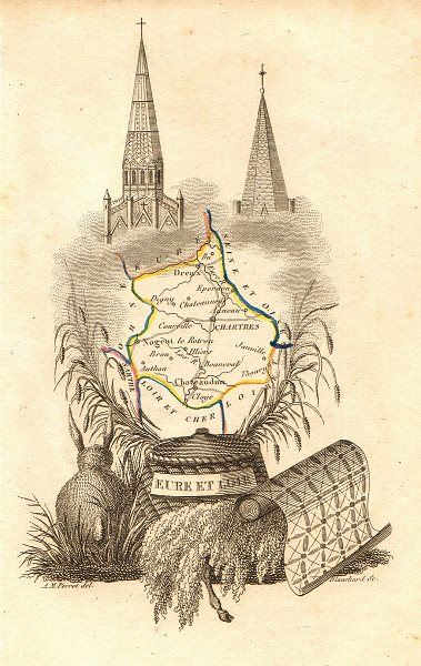 Associate Product EURE-ET-LOIRE département. 'Eure et Loire'. Scarce map/carte by A.M. PERROT 1823