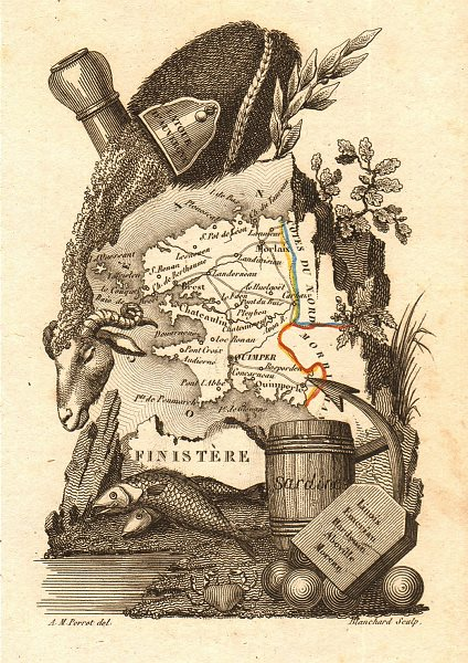 Associate Product FINISTÈRE département. Scarce antique map/carte by A.M. PERROT 1823 old