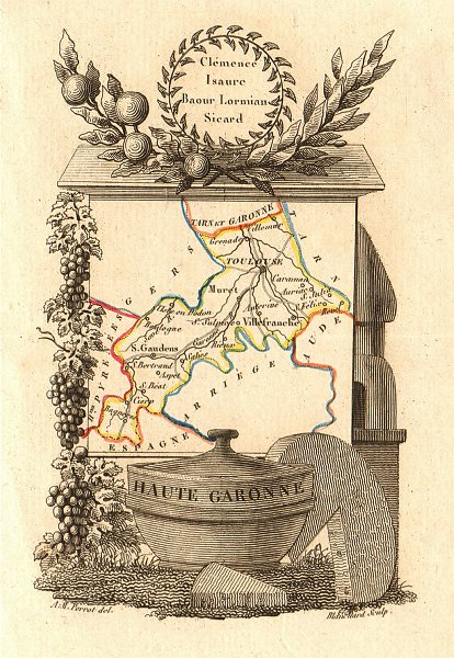Associate Product HAUTE-GARONNE département. 'Haute Garonne'. Scarce map/carte by A.M. PERROT 1823