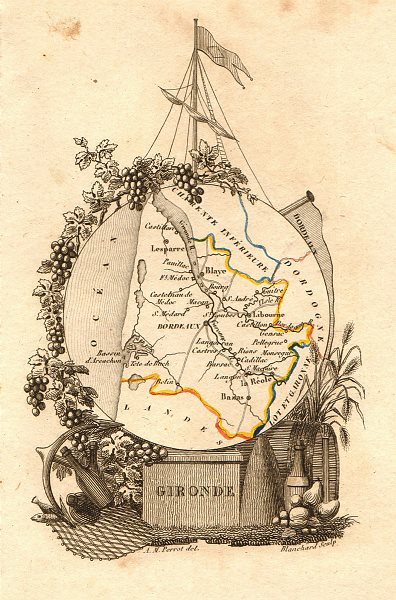 Associate Product GIRONDE département. Scarce antique map/carte by A.M. PERROT 1823 old