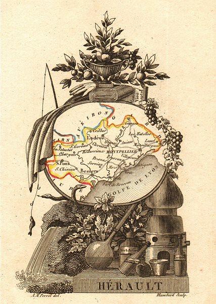 Associate Product HÉRAULT département. Scarce antique map/carte by A.M. PERROT 1823 old