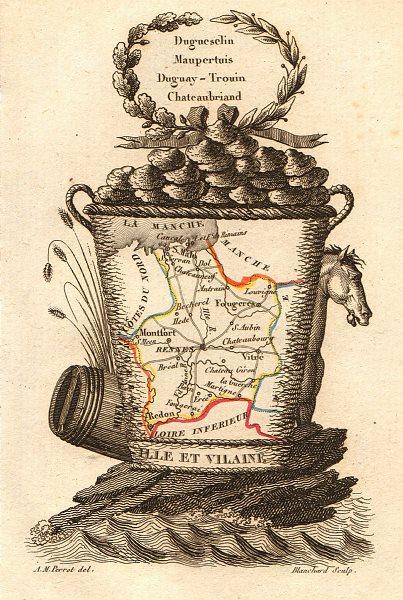 Associate Product ILLE-ET-VILAINE département. Scarce antique map/carte by A.M. PERROT 1823