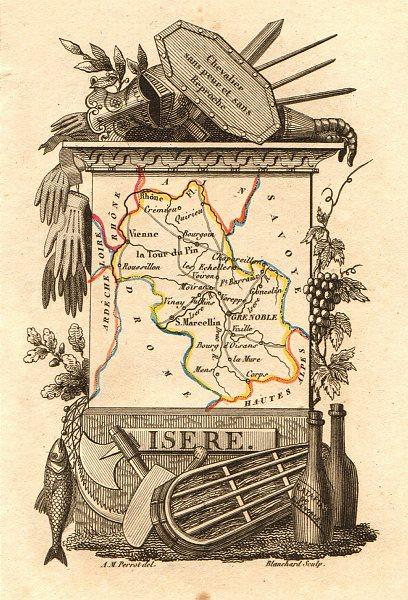 Associate Product ISÈRE département. Scarce antique map/carte by A.M. PERROT 1823 old