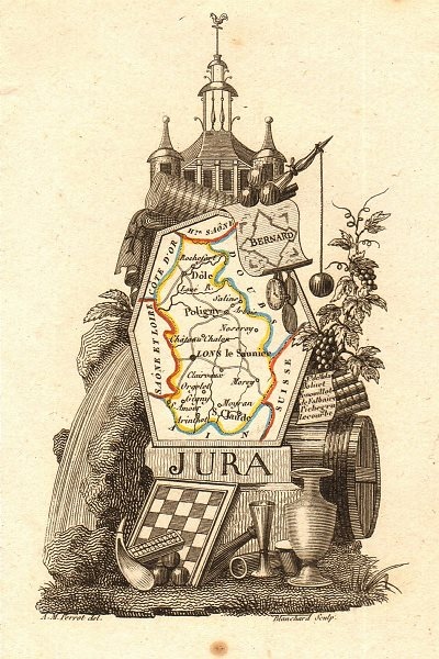 Associate Product JURA département. Scarce antique map/carte by A.M. PERROT 1823 old