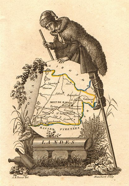 Associate Product LANDES département. Scarce antique map/carte by A.M. PERROT 1823 old