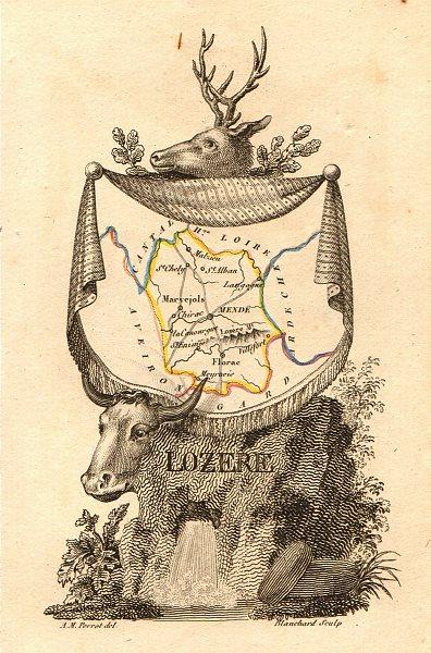 Associate Product LOZÈRE département. 'Lozere'. Scarce antique map/carte by A.M. PERROT 1823