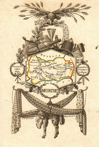 Associate Product MEURTHE département. Scarce antique map/carte by A.M. PERROT 1823 old