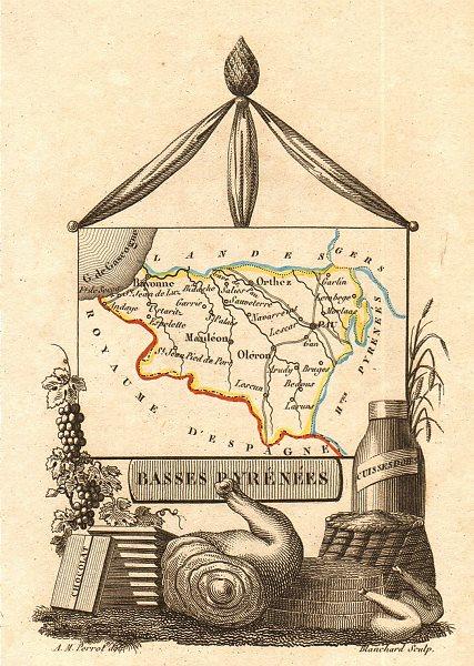 Associate Product PYRÉNÉES-ATLANTIQUES département. 'Basses Pyrénées'. Scarce map. PERROT 1823
