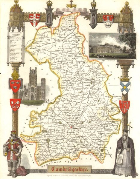 Associate Product Cambridgeshire antique hand-coloured county map by Thomas Moule c1840 old