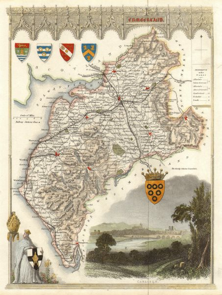 Associate Product Cumberland antique hand-coloured county map by Thomas Moule c1840 old