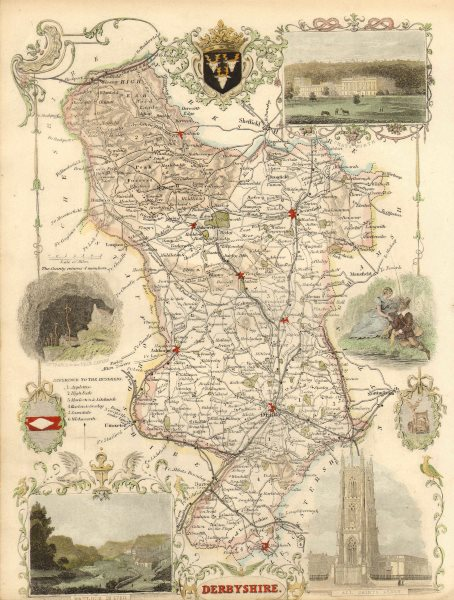 Associate Product Derbyshire antique hand-coloured county map by Thomas Moule c1840 old