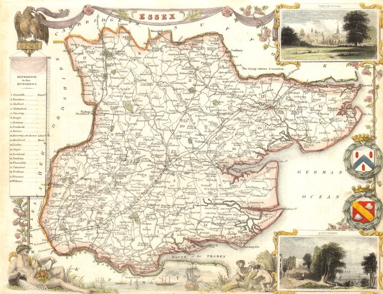 Associate Product Essex antique hand-coloured county map by Thomas Moule c1840 old