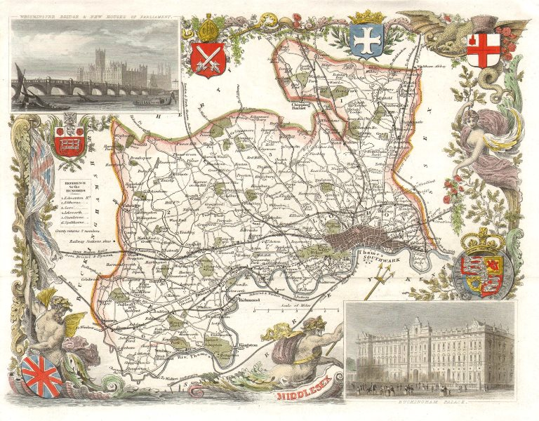 Associate Product Middlesex antique hand-coloured county map by Thomas Moule c1840 old