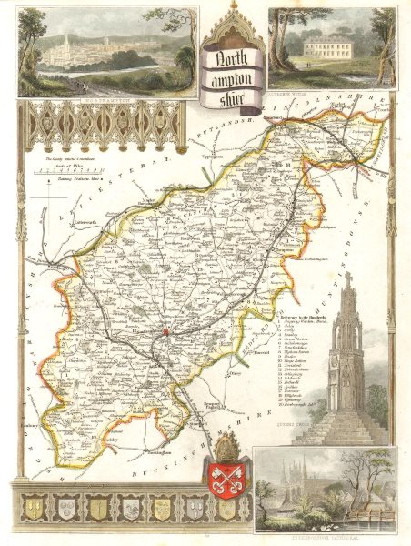 Northamptonshire antique hand-coloured county map by Thomas Moule c1840