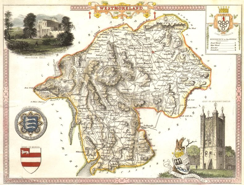 Associate Product Westmoreland antique hand-coloured county map by Thomas Moule c1840 old