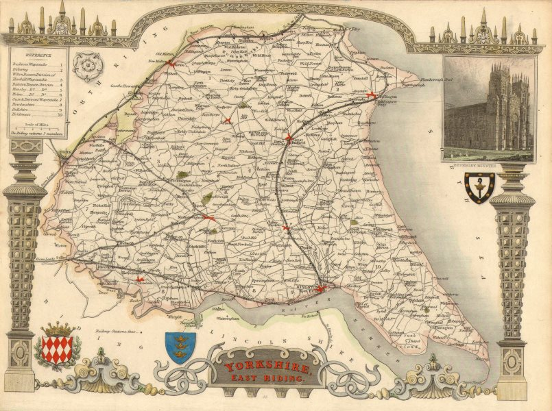 Associate Product Yorkshire, East Riding antique hand-coloured county map by Thomas Moule c1840