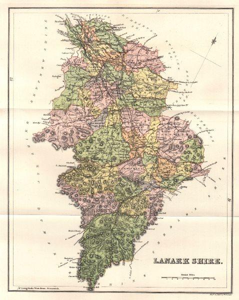 Associate Product LANARKSHIRE. Antique county map. Parishes. Glasgow. Scotland. LIZARS 1885