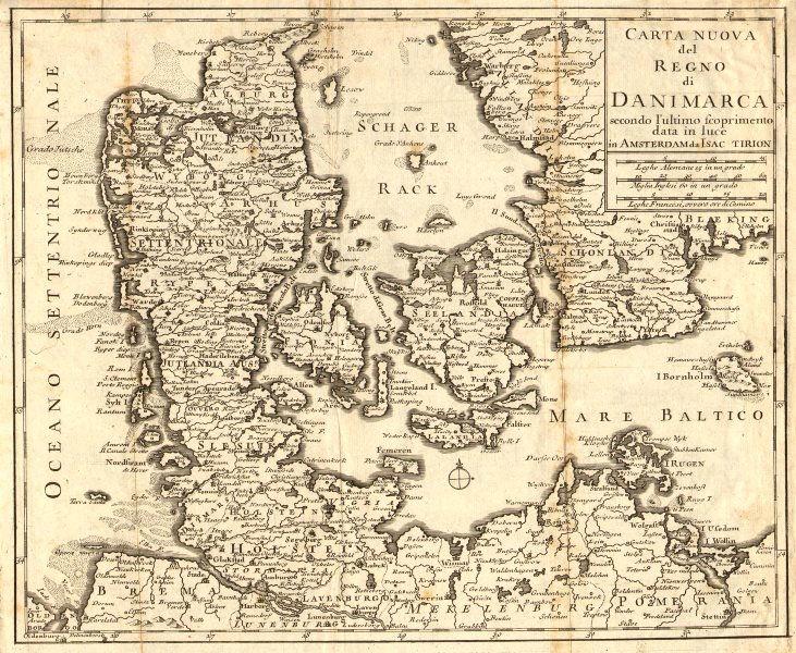 Associate Product 'Carta Nuova del Regno di Danimarca…' by Isaac TIRION. DENMARK c1750 old map