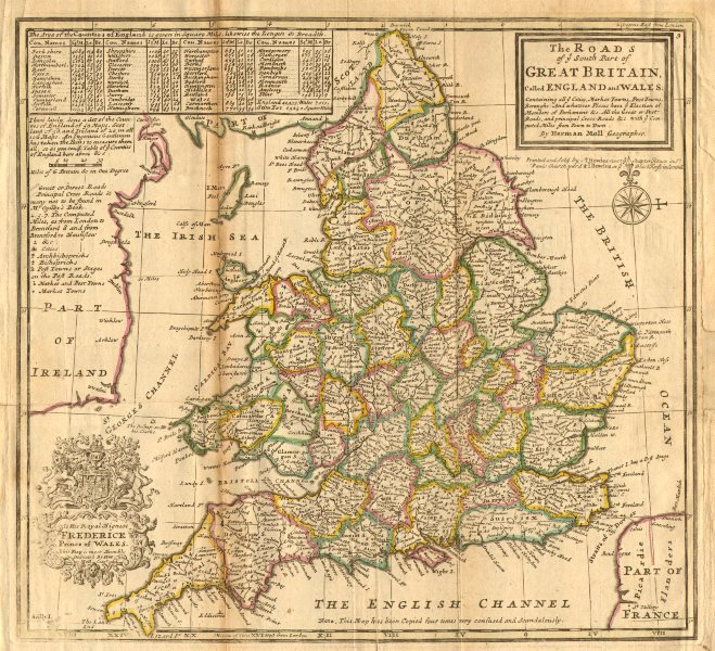 Associate Product 'The Roads of ye South Part of Great Britain'. England & Wales. MOLL 1753 map
