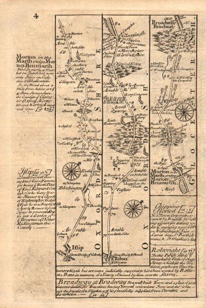 Associate Product Islip-Bletchingdon-Enstone-Moreton-in-Marsh-Broadway OWEN/BOWEN road map 1753
