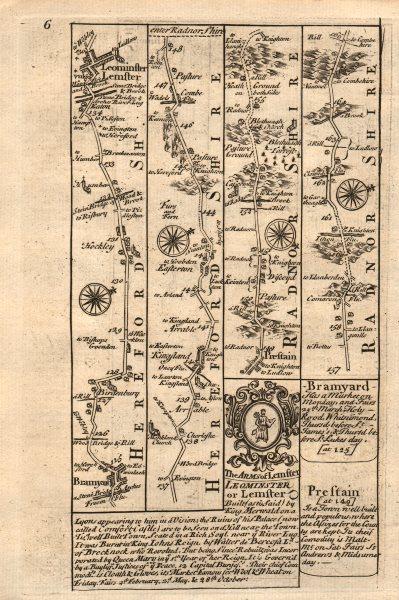 Associate Product Bromyard-Leominster-Kingsland-Presteigne road map by J. OWEN & E. BOWEN 1753