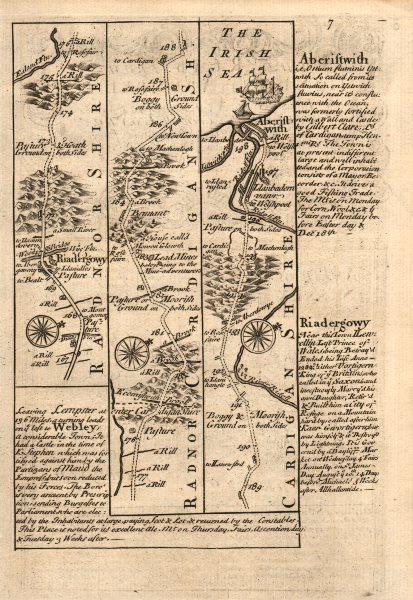 Associate Product Rhayader-River Wye-Bronant-Aberystwyth road map by J. OWEN & E. BOWEN 1753