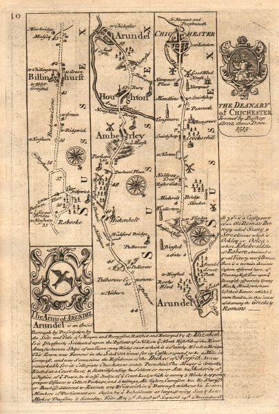 Billingshurst-Amberley-Houghton-Arundel-Chichester OWEN/BOWEN road map 1753