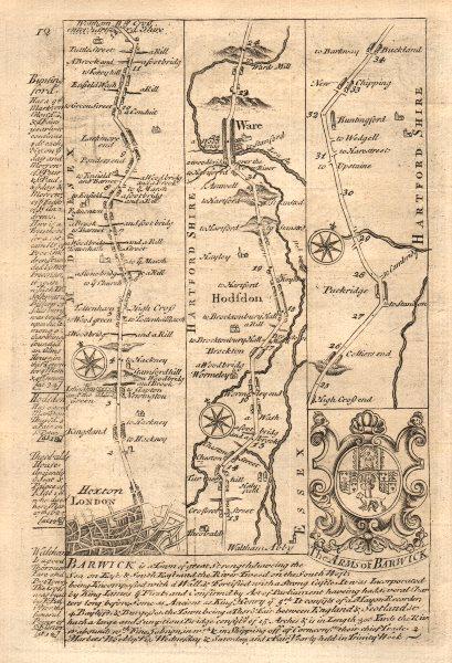Associate Product London-Hoxton-Tottenham-Edmonton-Waltham Cross-Hoddesdon-Ware BOWEN map 1753
