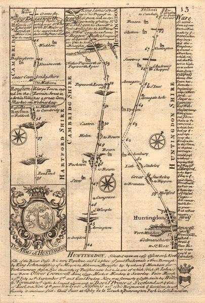 Associate Product Royston-Arrington-Caxton-Huntingdon-Stilton road map by OWEN & BOWEN 1753