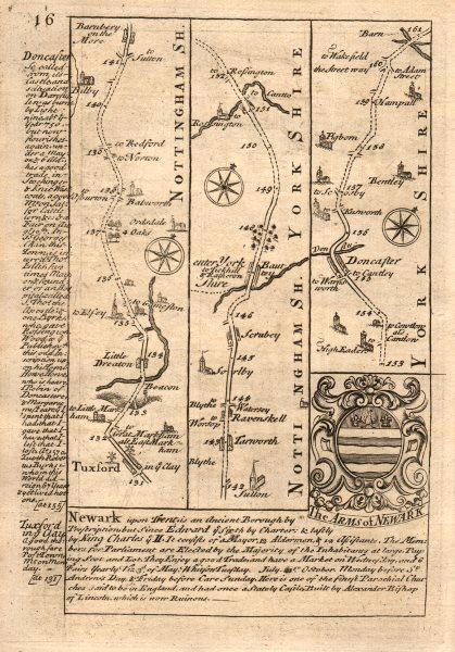 Associate Product Tuxford-Barnby Moor-Bawtry-Doncaster road strip map by J. OWEN & E. BOWEN 1753