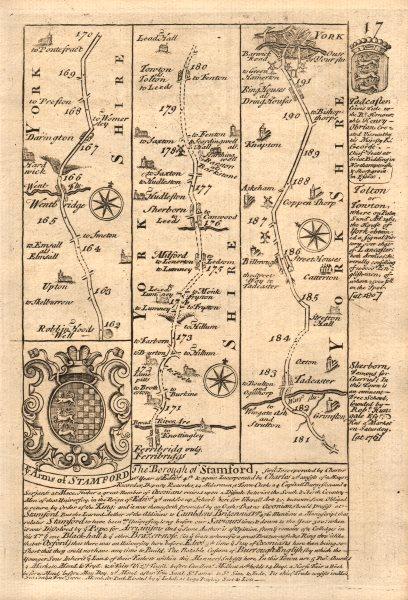 Associate Product Wentbridge-Ferrybridge/Knottingley-Tadcaster-York road map by OWEN & BOWEN 1753