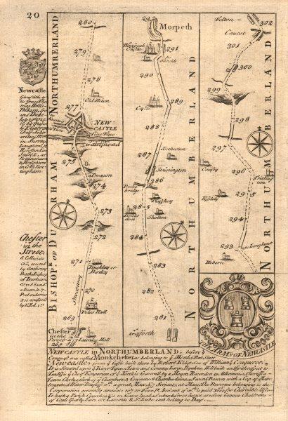 Associate Product Chester le Street-Newcastle upon Tyne-Morpeth-Felton OWEN/BOWEN road map 1753