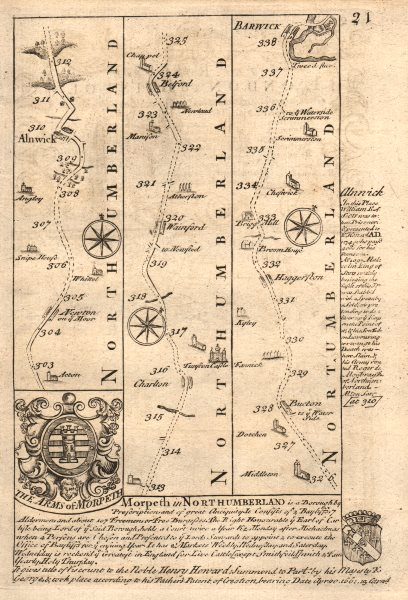 Associate Product Alnwick-Belford-Haggerston-Berwick-upon-Tweed road map by OWEN & BOWEN 1753