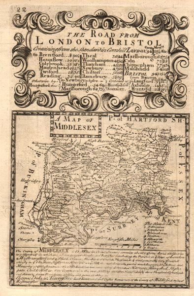 Associate Product 'A Map of Middlesex'. County map by J. OWEN & E. BOWEN 1753 old antique