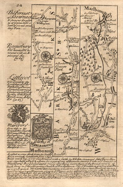 Associate Product Woolhampton-Newbury-Hungerford-Marlborough road map by OWEN & BOWEN 1753