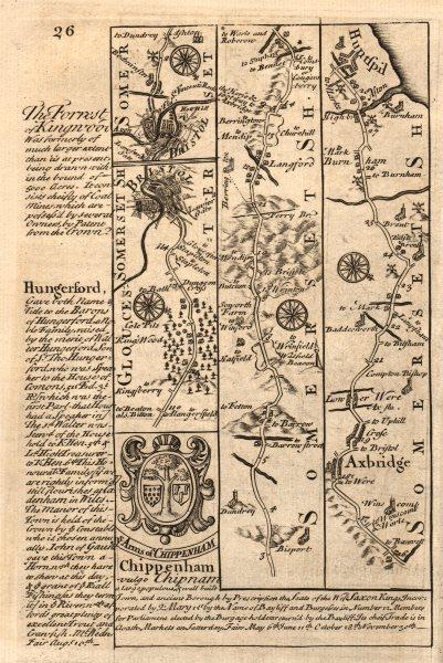 Associate Product Bristol-Axbridge-Huntspill road strip map by J. OWEN & E. BOWEN 1753 old