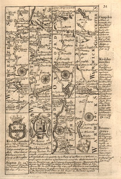 Associate Product Bromsgrove-Kidderminster-Bridgnorth. Banbury-Chipping Campden BOWEN map 1753