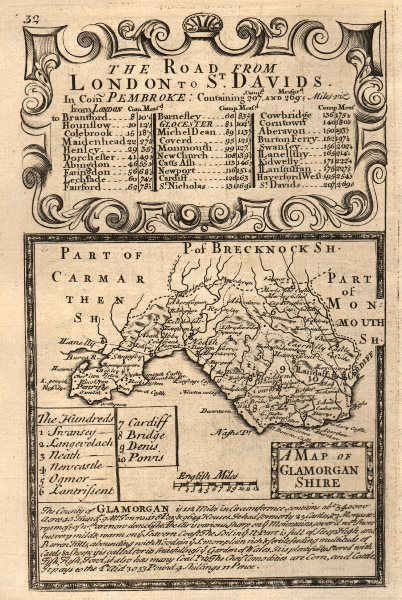 Associate Product 'A Map of Glamorgan-Shire'. County map by OWEN & BOWEN. Glamorganshire 1753