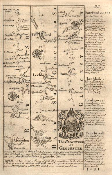 Associate Product Abingdon-Faringdon-Lechlade on Thames-Fairford-Barnsley OWEN/BOWEN road map 1753