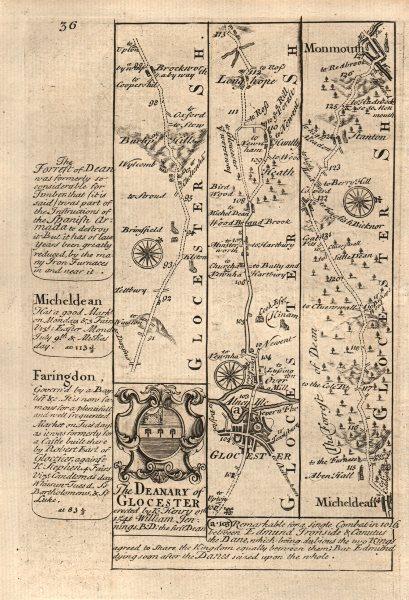 Associate Product Gloucester-Longhope-Mitcheldean-Monmouth road map by J. OWEN & E. BOWEN 1753