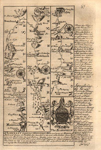 Associate Product Monmouth-Newchurch-Newport-Cardiff road strip map by J. OWEN & E. BOWEN 1753