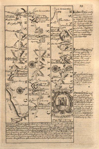 Associate Product Briton Ferry-Swansea-Llanelli-Kidwelly road map by J. OWEN & E. BOWEN 1753