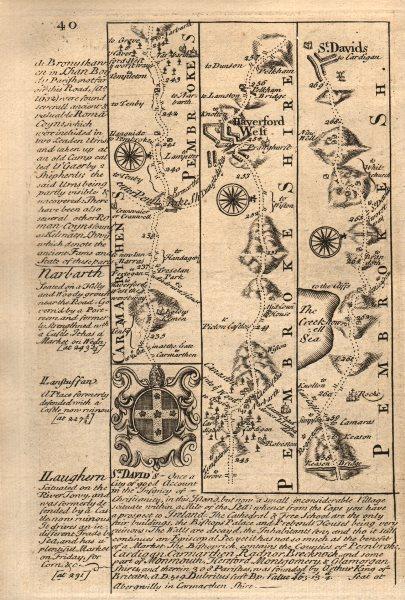 Associate Product Haverfordwest-St David's road strip map by J. OWEN & E. BOWEN 1753 old
