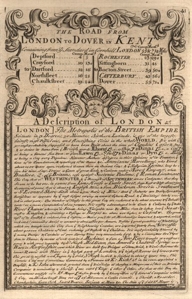Associate Product The Road from London to Dover in Kent. A Description of London 1753 old print
