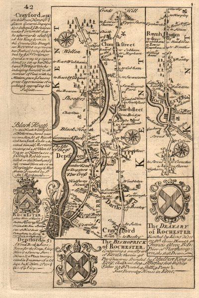 Associate Product London-Deptford-Shooter's Hill-Dartford-Rochester OWEN/BOWEN road map 1753